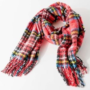 Urban outfitters plaid fuzzy scarf